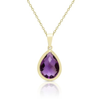 Dolce Giavonna Gold Over Sterling Silver Amethyst Teardrop Necklace