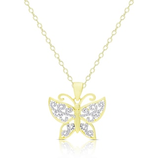 Finesque Gold Over Sterling Silver Diamond Accent Butterfly Necklace