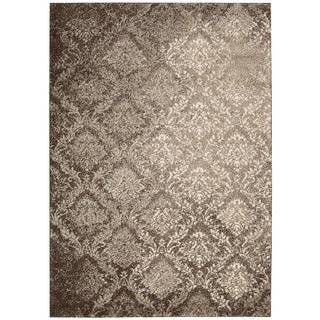 kathy ireland Santa Barbara Royal Shimmer Beige/Brown Shag Area Rug (7'10 x 9'10) by Nourison