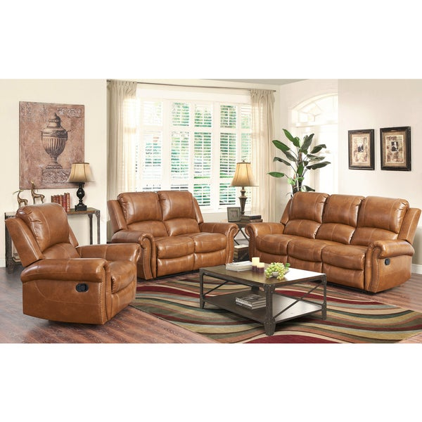 abbyson living skyler cognac 2 piece leather reclining living room set