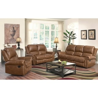 ABBYSON LIVING Skyler Cognac 3 Piece Leather Reclining Set