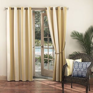 Sun Zero Woven Stripe Polyester 84-inch x 95-inch Indoor/Outdoor Curtain Panel