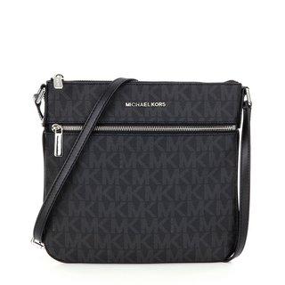 Michael Kors Bedford Signature Black PVC Flat Crossbody Handbag