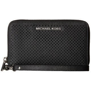 Michael Kors Jet Set Black Large Perforated Multifunction Phone Wallet