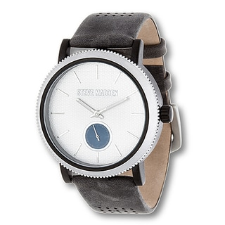 Steve Madden Silver Case and Gray Genuine Leather Strap Watch