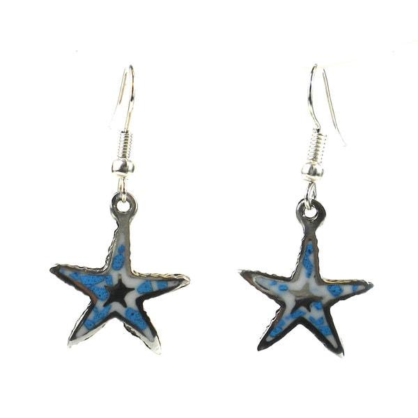 Handmade Alpaca Silver and Turquoise Chip Starfish Earrings - Artisana Jewelry (Mexico)