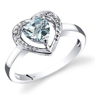 Oravo 14k White Gold 3/4ct TGW Heart-shape Aquamarine and Diamond Accent Promise Ring