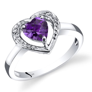 Oravo 14k White Gold 3/4ct TGW Amethyst and Diamond Accent Promise Ring