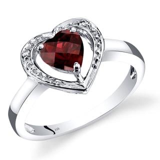 Oravo 14k White Gold Garnet Diamond Accent Heart Shaped Promise Ring