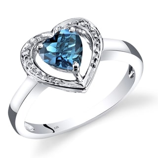 Oravo 14k White Gold 1ct TGW Heart-shaped London Blue Topaz with Diamond Accents Promise Ring (Size 7)