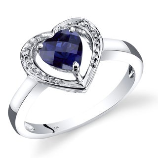 Oravo 14k White Gold 1ct TGW Heart-shaped Created Sapphire with Diamond Accents Promise Ring (Size 7)