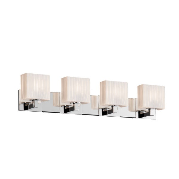 Justice Design Group Fusion Modular 4-light Polished Chrome Bath Bar, Ribbon Rectangle Shade