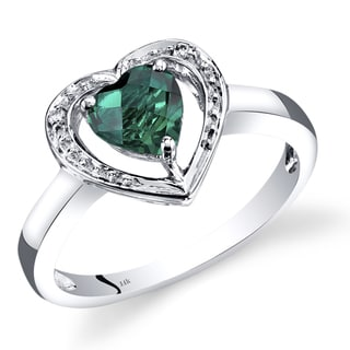 Oravo 14k White Gold 3/4ct TGW Heart-shaped Created Emerald with Diamond Accents Promise Ring (Size 7)