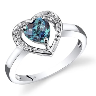 Oravo 14k White Gold 1ct TGW Heart-shaped Created Alexandrite with Diamond Accents Promise Ring