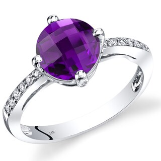 Oravo 14k White Gold 1 3/4ct TGW Amethyst and Diamond Accent Solitaire Ring