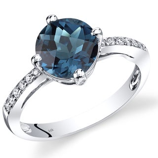 Oravo 14k White Gold 2 1/2ct TGW London Blue Topaz and Diamond Accent Ring