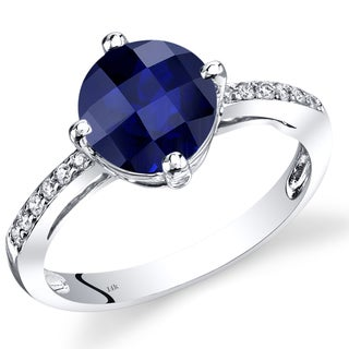 Oravo 14k White Gold 2 1/2ct Created Sapphire and Diamond Accent Solitaire Ring (Size 7)