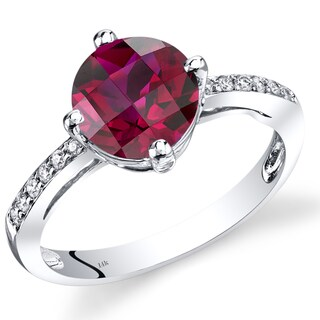 Oravo 14k White Gold 2 1/2ct TGW Created Ruby with Diamond Accents Ring (Size 7)