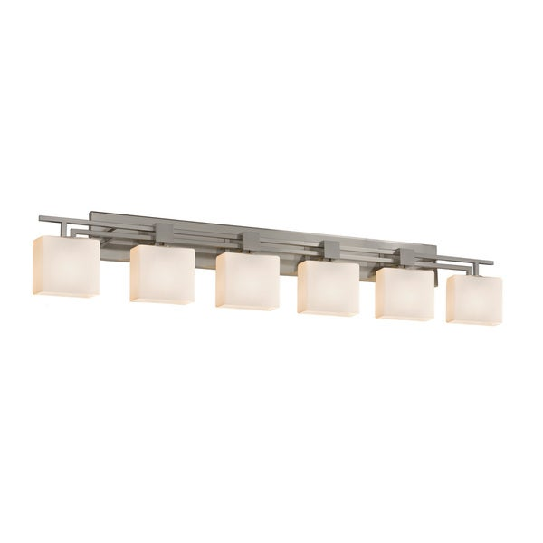 Justice Design Group Fusion Aero 6-light Brushed Nickel Bath Bar, Mercury Rectangle Shade