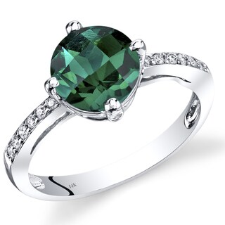 Oravo 14k White Gold 1 3/4ct TGW Created Emerald and Diamond Accent Solitaire Ring