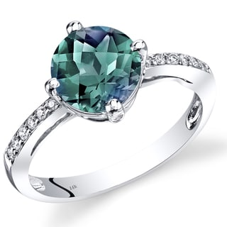 oravo 14k white gold 225 carats created alexandrite diamond accent solitaire ring - Alexandrite Wedding Ring