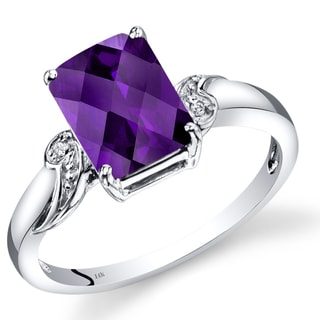 Oravo 14k White Gold 2ct TGW Radiant Checkerboard-cut Amethyst and Diamond Accent Ring