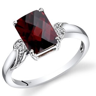 Oravo 14k White Gold 2 3/4ct TGW Garnet and Diamond Accent Ring