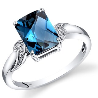 Oravo 14k White Gold 2 1/2ct TGW Radiant-cut London Blue Topaz with Diamond Accent Ring (Size 7)