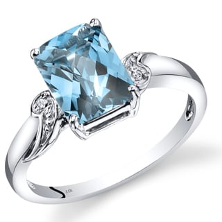 Oravo 14k White Gold 2 1/2ct TGW Radiant Swiss Blue Topaz and Diamond Accent Ring