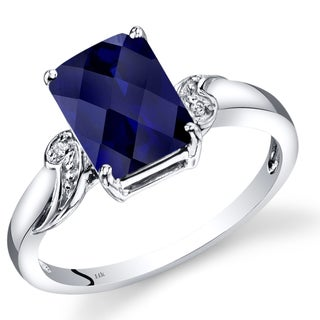 Oravo 14k White Gold 3ct TGW Checkerboard-cut Radiant Sapphire and Diamond Accent Ring