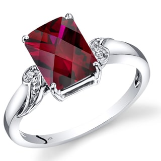 Oravo 14k White Gold 3ct TGW Created Ruby and Diamond Accent Ring