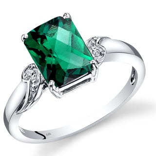 Oravo 14k White Gold Created Emerald Radiant Diamond Accent Checkerboard Ring (Size 7)