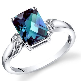 Oravo 14k White Gold Created Alexandrite Diamond Accent Radiant Checkerboard Ring (Size 7)
