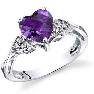 Oravo 14k White Gold 1 1/2ct TGW Amethyst and Diamond Accent Ring