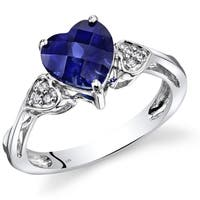 Oravo 14k White Gold Heart-shaped 2.5ct TGW Created Sapphire with Diamond Accents Ring (Size 7)