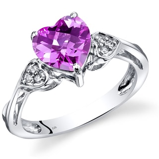 Oravo 14k White Gold 2 1/2ct TGW Heart-shaped Created Pink Sapphire with Diamond Accents Ring (Size 7)