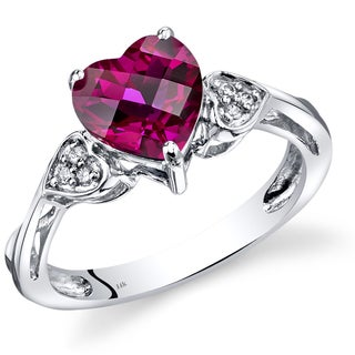 Oravo 14k White Gold 2 1/2ct TGW Heart-shaped Created Ruby with Diamond Accents Ring (Size 7)