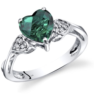 Oravo 14K White Gold 1.5 Carats Created Emerald Heart Shape Classic Diamond Ring