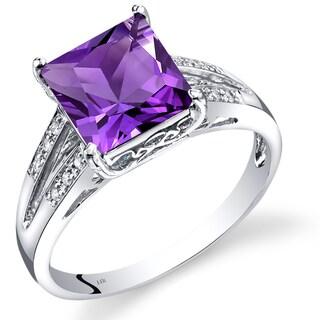 Oravo 14K White Gold 2 Carats Amethyst Princess Cut Diamond Ring