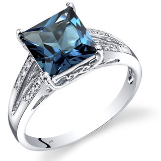 Oravo 14k White Gold London Blue Topaz Diamond Accent Ring (Size 7)