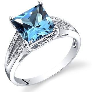 Oravo 14k White Gold 3ct TGW Princess-cut Swiss Blue Topaz and Diamond Accent Ring (H-I,SI1-SI2)