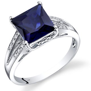 Oravo 14k White Gold Created Sapphire Diamond Accent Princess Cut Ring (Size 7)