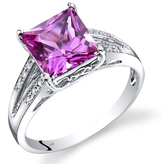 Oravo 14k White Gold 3 1/4ct TGW Princess-cut Created Pink Sapphire with Diamond Accents Ring (Size 7)