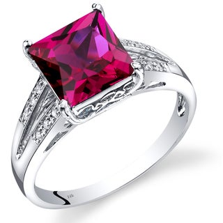 Oravo 14K White Gold 3 Carats Created Ruby Princess Cut Diamond Ring
