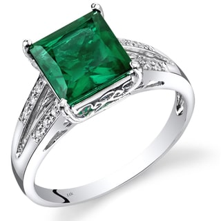 Oravo 14k White Gold Created Emerald Diamond Accent Ring Size 7