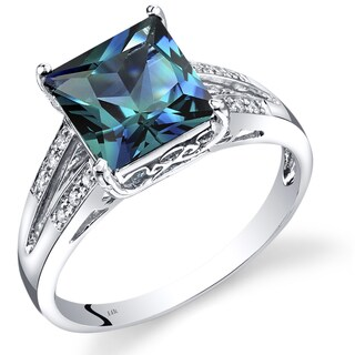 Oravo 14k White Gold Created Alexandrite Diamond Accent Princess Cut Ring (Size 7)