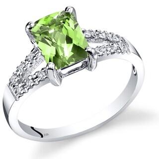 Oravo 14k White Gold 1 1/2ct TGW Peridot and Diamond Accent Venetian Ring