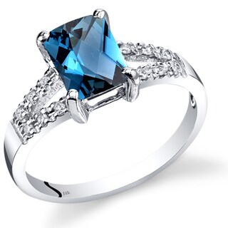 Oravo 14k White Gold 1 3/4ct TGW London Blue Topaz with Diamond Accents Ring