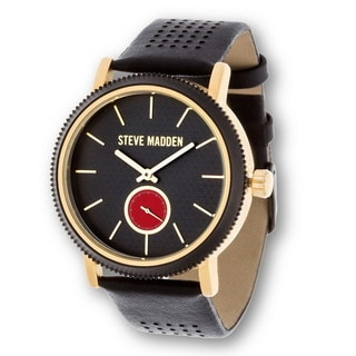 Steve Madden Gold Case and Black Genuine Leather Strap Watch