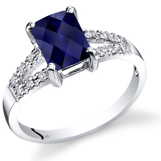 Oravo 14k White Gold 2ct TGW Created Sapphire with Diamond Accents Venetian Ring (Size 7)